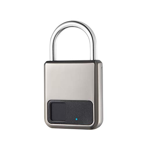 Fingerprint Padlock,Smart Padlock,Suitable for House Door, Bookcase, Suitcase, Backpack, Gym, Bike, Office, Support USB Charging (Golden)