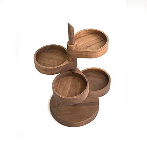 Pantalla de almacenamiento de joyería de madera maciza, almacenes exhibición giratoria, cuadro organizador 4 capas, pantalla bandeja multifunción, pendiente Pulsera anillo lápiz labial en cómodos
