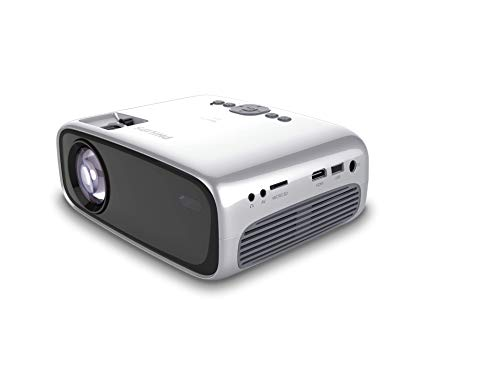 Philips NeoPix Easy+ Mini Video Projector, 80 Inch Display, Wi-Fi Screen Mirroring, Bluetooth, Built-in Media Player, HDMI, USB, microSD, 3.5mm Audio Out