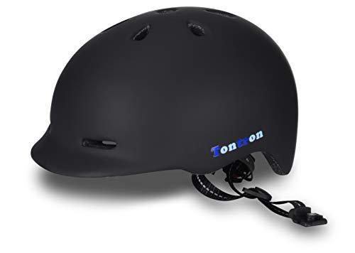 Tontron Urban Adult Cycling Helmet (Matte Black, Large)