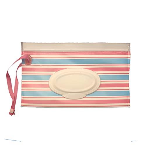 Caja De PañUelos Dibujos animados lindos toallitas húmedas bolso pequeñas rayas de peces maquillaje de limpieza portátil Cubierta de recipiente Caja de contenedores Caja reutilizable para niños Caja P
