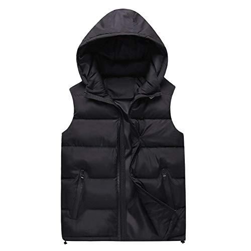 Herren Winrterjacke Rmellos Daunenjacke Winterweste Mit Kapuze Herrenmode Warm Oberkleidung Wintermantel Outwear (Color : Schwarz, Size : XL)