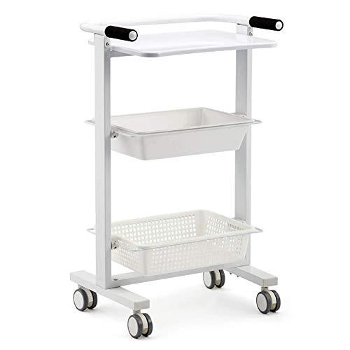 ZHFZD gereedschapswagen, draagbaar, met dienblad en trolley met remwielen, serveerwagen, opbergen, cosmeticameubel, met 3 niveaus, voor laboratoriumuitrusting ZHFZD Size Wit