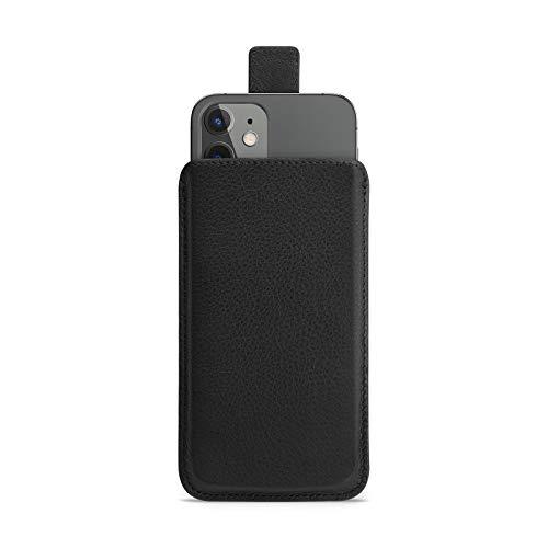 WIIUKA Hülle für iPhone 12 Mini, Lederhülle - Close - extra schlank mit Verschluss, Premium Leder, Design Handyhülle Tasche Schwarz