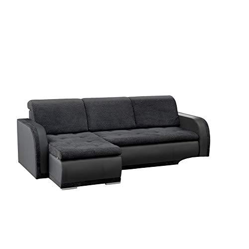 mb-moebel kleines Ecksofa Sofa Eckcouch Couch mit Schlaffunktion und Bettkasten L-Form Polstergarnitur große Farbauswahl - VERO I (Ecksofa Links, Schwarz)