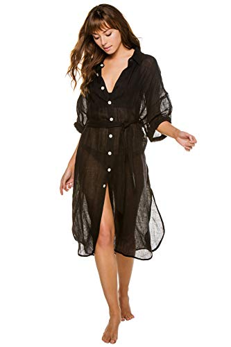 Vitamin A Women's EBW X Shirt Dress Swim Cover Up Eco Linen Gauze Black L