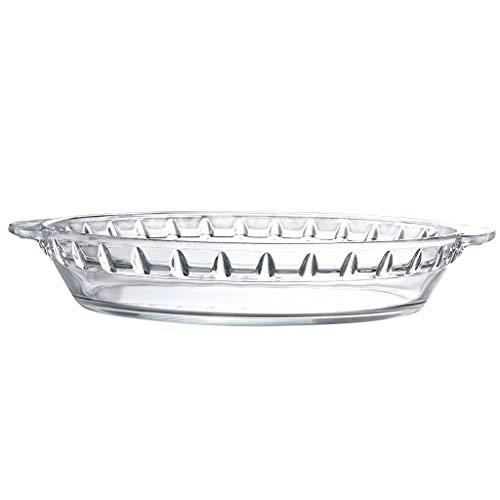 Skelang - Plato para horno con mango de cristal, 21,5 x 18,5 x 4 cm, plato redondo de cristal transparente para tarta de manzana, tarta de calabaza, Quiche