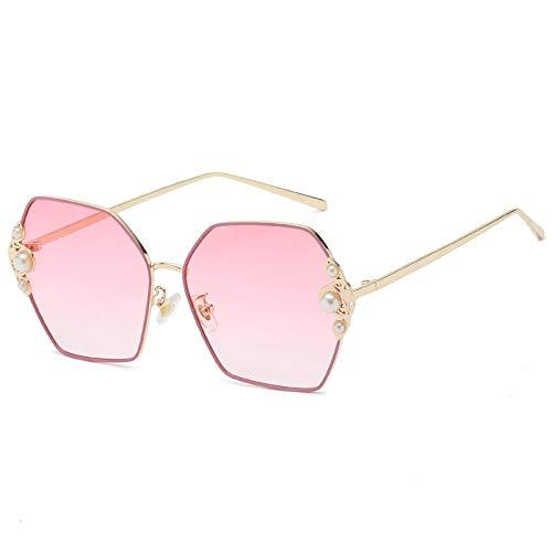QINGZHOU Gafas de Sol,lentes de sol de montura de metal con lentes de ca lentes de sol gradiente de moda lentes de sol para mujer, montura dorada rosa degradado