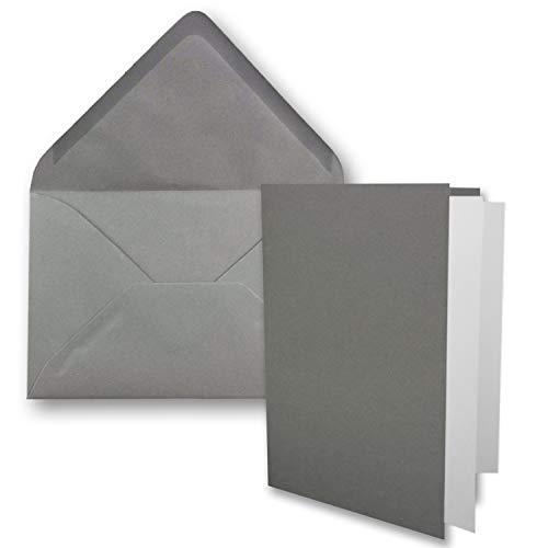 10x DIN B6 Faltkarten-Set - Graphit-Grau - 115 x 170 mm - 11,5 x 17 cm - Doppelkarten mit Umschlägen und Einleger-Papier - FarbenFroh by GUSTAV NEUSER®