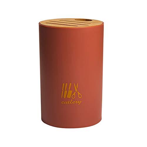 Portacuchillos Con Cubierta De Bambú, Tijeras Y Estante De Almacenamiento De Barra De Afilado, Estante Multifunción Para Cuchillos De Cocina Para El Hogar (Rojo)
