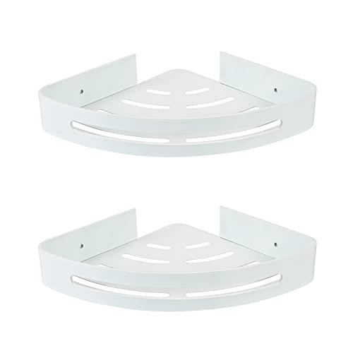 CROSOFMI Estanteria Baño Esquina Estante Ducha de Esquina a Prueba de Herrumbre para Organizador de Cocina de Baño Aluminio (Triángulo, Blanco,2 Paquetes)