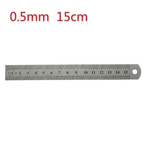 1 st. 15 cm / 20 cm / 30 cm / 50 cm dubbelzijdige weegschaal roestvrij staal rechte liniaal meetinstrument schoolkantoorbenodigdheden 0,5 mm / 0,7 mm 15 cm.