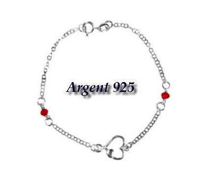 Pulsera de plata 925, diseño de corazón de piedras con cristales, color rojo