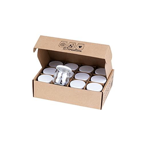 DIY Creation - Lot de 12 BOB - Pots de yaourt en verre universels avec couvercles étanches - Fabrication Française - 125gr / 143 ml