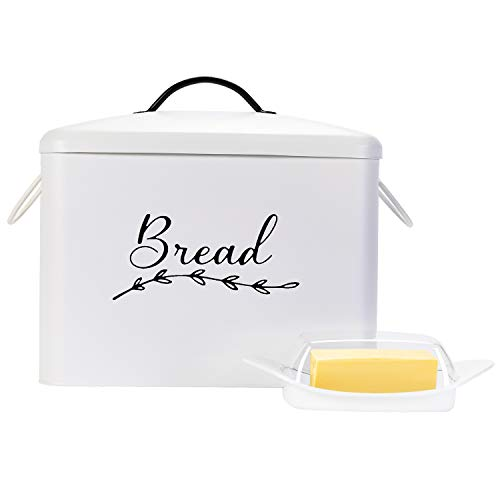 Farmhouse Bread Box for Kitchen Countertop – White, Metal Bread Box with Handles and Complimentary Butter Dish with Lid Offer Easy Organization – Rustic Home Decor by Home & Abode, 13.25x12.5x7.5inch.