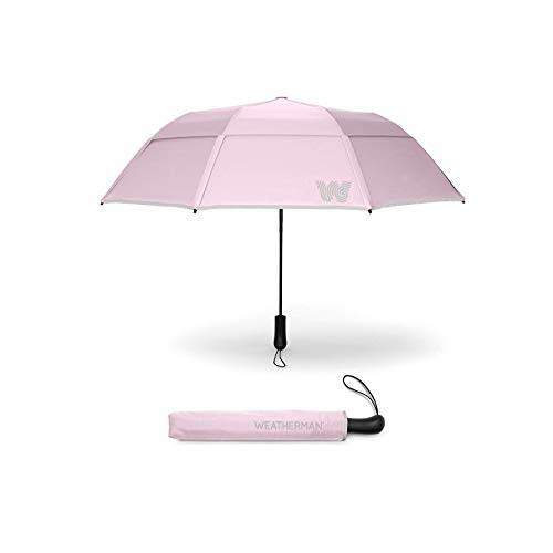 The Weatherman Umbrella - Collapsible Umbrella - Windproof Umbrella Resists Up to 55 MPH - Available in 8 Colors (Pink)