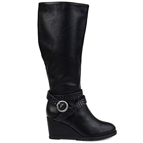 Brinley Co. Comfort Womens Braid Strap Wedge Boot Black, 8.5 Extra Wide Calf US