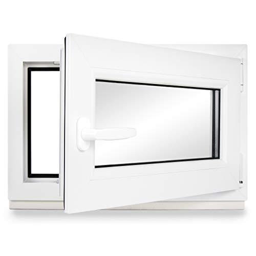 Kellerfenster PVC Dreh-Kipp 65x40 cm (BxH) 3-fach Glas DIN Rechts Dichtung schwarz