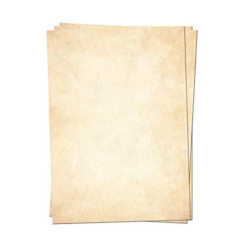 Presentou 50 x Briefpapier beidseitig Bedruckt 120 Gramm Papier | Motivpapier Urkundenpapier Urkunde Speisekarte Liebesbrief (Vintage Hell, 50 Bögen)