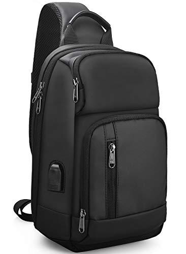 NUBILY ショルダーバッグ メンズ 斜め掛け ボディバッグ 肩掛けバッグ 防水 YKK製ファスナー USBポート ブラック iPad収納可能
