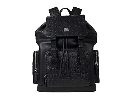 MCM Brandenburg Monogram Leather Backpack Large Black One Size
