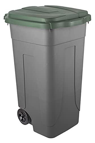 Mobil Plastic – Cubo de basura para reciclaje de 80 litros bicolor – Fondo gris y tapa verde