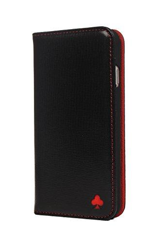 Porter Riley - Lederhülle für HTC U11. Premium Echtleder Standhülle/Cover/Brieftasche kompatibel mit HTC U11 (Schwarz, Rot)