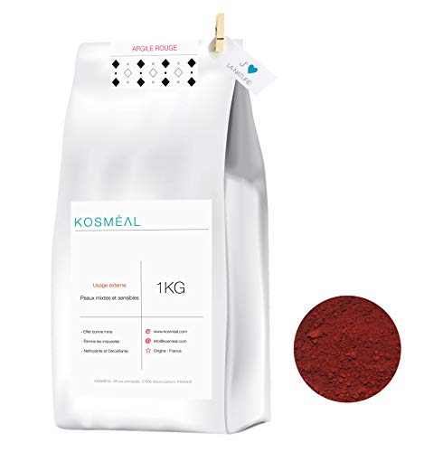 Rot Lehmpulver 100% Rein 1KG - Herkunft Frankreich - Naturlehm Bodengrund - Lehm Rot - Umweltfreundliche Verpackung In Weißem Kraftpapier