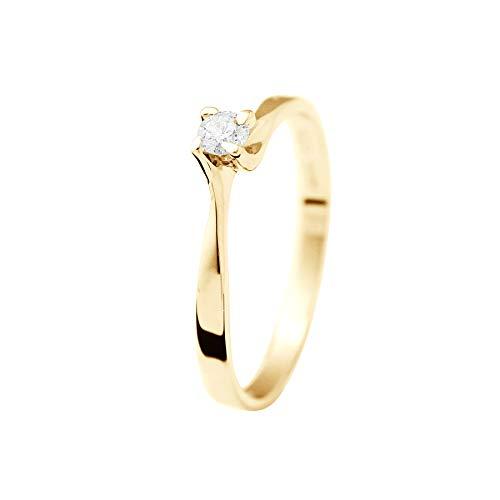 & You - Anello Solitario Diamante 0,15 Carati - 4 Griffe - Disponibile in Oro Giallo e Oro Bianco - Gioiello da Donna