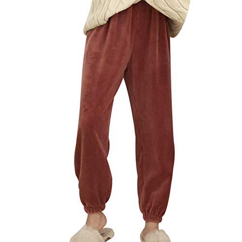 Huaheng Ultra Warm Fleece Winter Pajama Pant Zachte Dikke Thuis Casual Losse Broek Rood