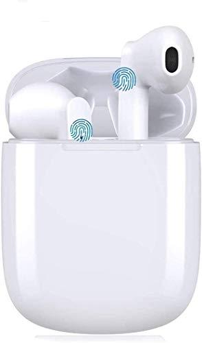 Auriculares Bluetooth 5.0 TWS i12 Seguridad estéreo 3D adecuados para Control táctil Auriculares inalámbricos Impermeables IPX5 para Trabajo y Deportes emparejamiento automático portátil(Blanco)