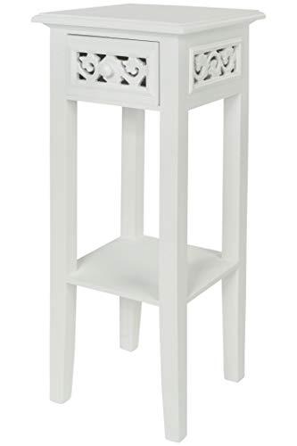 elbmöbel Telefontisch Couchtisch Beistelltisch Nachttisch weiß braun aus Holz 1 Schublade Ablage im Shabby chic antik Landhaus Stil – H67 x B25 x T25 cm