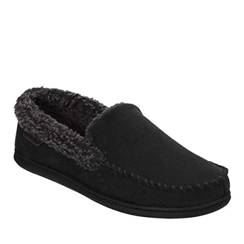 Dearfoams Men's Memory Foam Slipper Microsuede Moc Whipstitch (Large, Black)