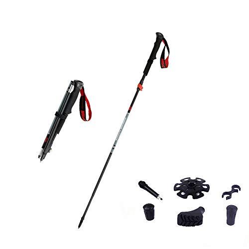 LXZC Trekking Poles Carbon Pole de randonnée Pliable avec pièces de Rechange Pôles de Marche ultraléger réglable 37-130CM pour Dames et Hommes Trail Running Poles