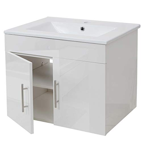 Mendler Waschbecken + Unterschrank HWC-D16, Waschbecken Waschtisch, Hochglanz 60cm - weiß