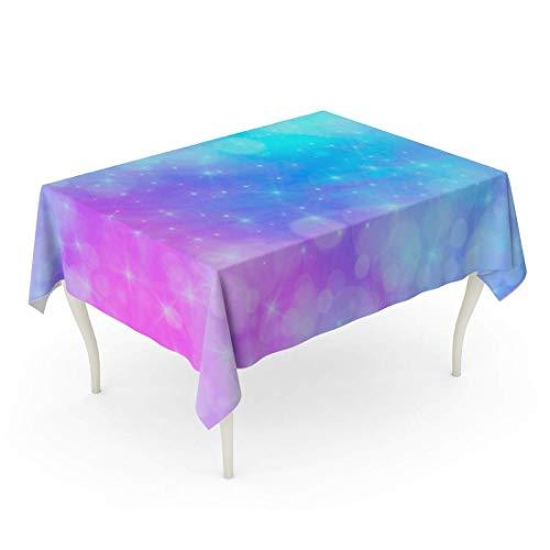 LIS HOME Mantel Rectángulo Dulces Rosados Holográficos en Color Pastel Galaxy Fantasía El Cielo Arcoíris para Nubes de Unicornio y Mantel Azul Universo Bokeh