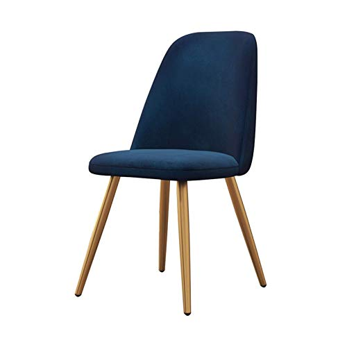 Dining Chairs Ergonomic Office Chair Backrest Soft Cushion Tulip Style Metal Chair Legs Upholstered Seat Dining Office Lounge Chair (Color : Blue)