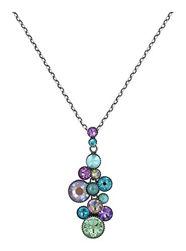Konplott Water Cascade Kette mit Anhänger Designer Mode-Schmuck   Halskette mit Glitzer-Steinen für Damen in Pastell   Schönes Geschenk