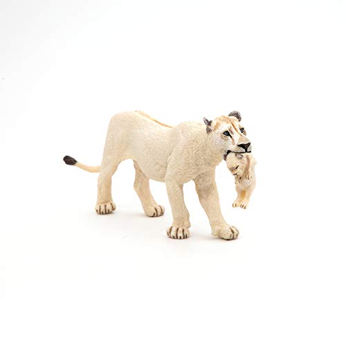 Papo White Lioness with Cub Figure, Multicolor