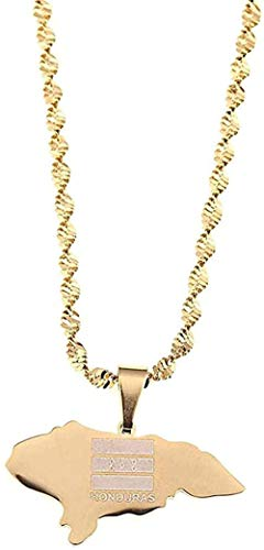 ZPPYMXGZ Co.,ltd Necklace Fashion Small Size Stainless Steel Necklace Map of Honduras Pendant Necklaces Charm Maps Patriotic Jewelry Gifts