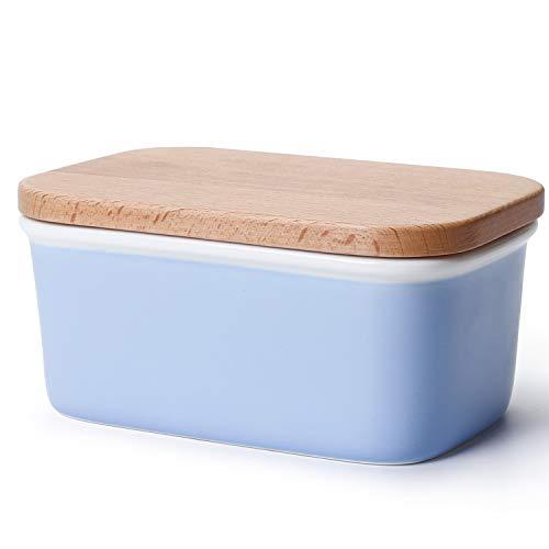 Sweese 301.110 Butterdose Porzellan mit Holzdeckel, für 250 g Butter, Groß, Blau