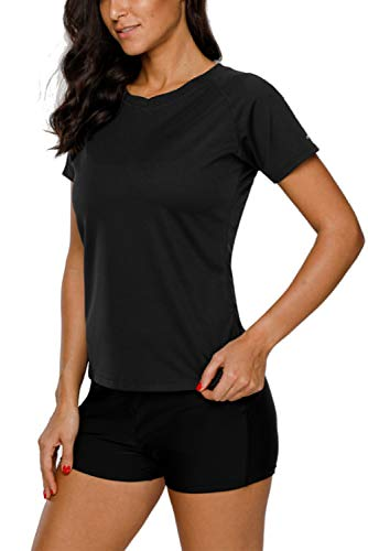 Vegatos Damen UV Shirt Kurzarm Spitze Badeshirt Uv Schutz UPF 50+ Rash Guard Einfarbig Schwimmshirt Schwarz 2XL
