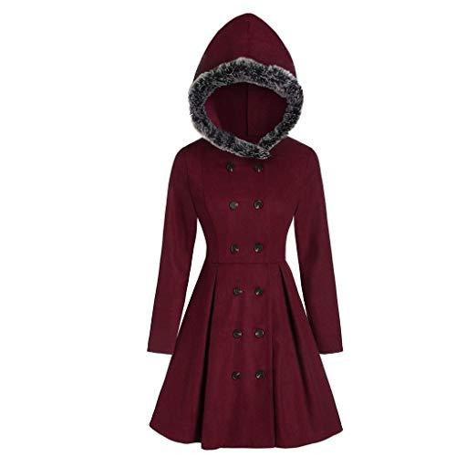 Damen große Mantel Wollmantel Plüsch mit Kapuze Zweireiher Taillenmantel mit Kapuze Langen Mantel (S, Rot)