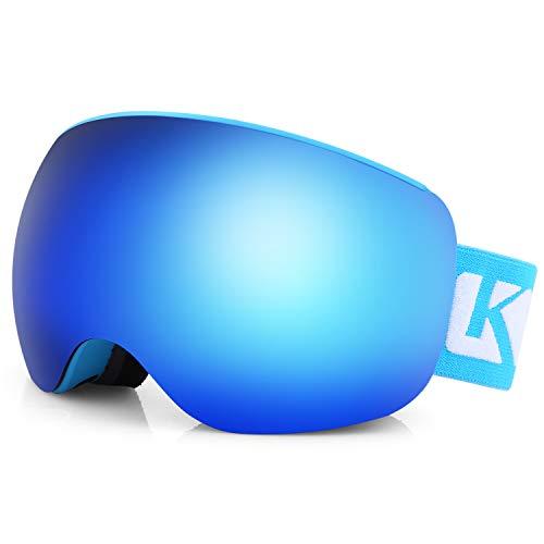 KUTOOK Skibrille Damen Herren Snowboard Brille Ski Goggles Doppel-Objektiv Anti-Fog UV-Schutz OTG Rahmenlose TPU VLT Schneebrille Für Snowboard Skifahren Blau