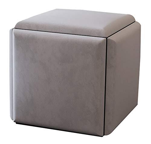 Taburete de Silla de Sofá Apilable Taburete Impermeable,Taburete de Cubo para Asientos 5 en 1,Taburete de Cuero,Sofá Creativo en Forma de Cubo para la Casa Club de los NiñOs,Gray