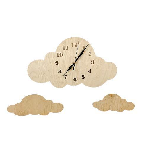 BABEES Kinder Wanduhr Wolken, Uhr ohne Tickgeräusche, Kinderuhr für Kinderzimmer, Lautlos Uhrwerk, Wanddeko Skandi Deko Junge Mädchen Holz