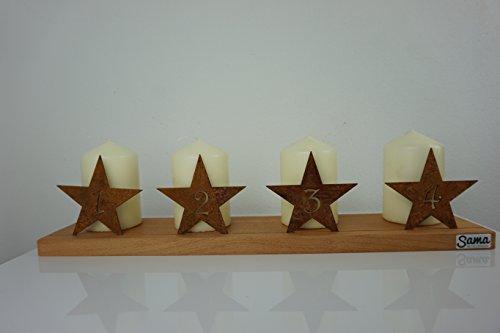 sama metalldesign Moderner Adventskranz aus Holz mit Sternzahlen in Edelrost, individuell gestaltbar, Made in Germany