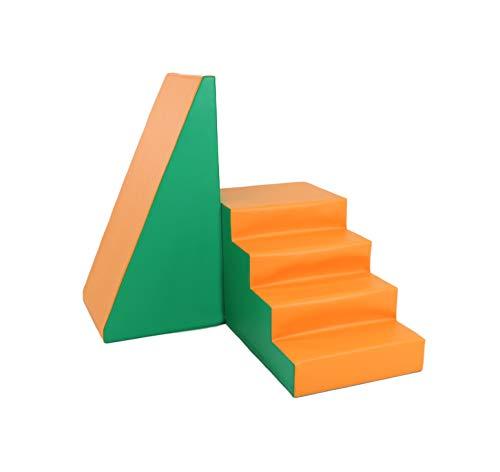 IGLU XXL Softbausteine Riesenbausteine Treppe und Rutsche - Grün Orange