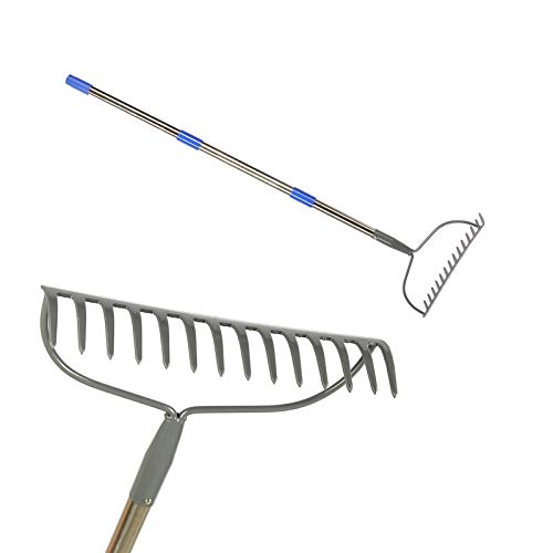 Wefaith Bow Rake - 5FT Heavy Duty Rock Rake for Gardening with Stainless Steel Handle - Garden Rake Heavy Duty with 14 Tines for Yard Silver
