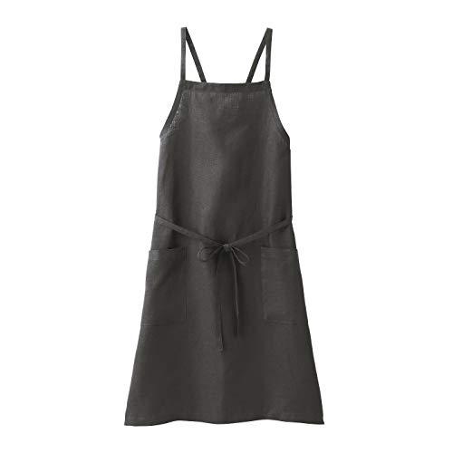 無印良品 麻平織 肩クロスエプロン 墨黒 身丈約90cm・巾着付 82247640